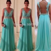 Sheer Tulle & Lace A line Prom Dress 2015 Floor Length Evening Dress See Through Waist Women Formal Dress