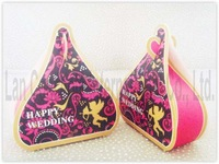 Free shipping DIY Wedding Candy Box Favor Box Folding Paper Box Party Favors Box - 9 x 3.5 x 9.8cm 120pcs/lot LWB0095A red