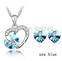 free shipping heart shaped cheap costume jewelry set white goldJs-4105