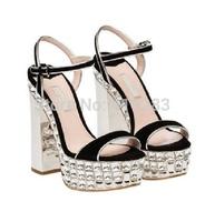 REAL PHOTO!Hot Sale Champagne Satin Crystal Heel Ankle-Strap Platform Sandals