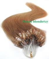 Top quality brazilian virgin hair straight micro loop hair extensions unprocessed human hair blonde virgin hair honey blonde#27