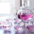 Free Shipping hot High temperature resistant Teapot set with Filter 600ml/800ml+6pcs double wall tea cup mug+Warmer gifts candle