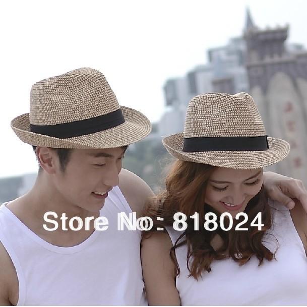 5pcs/lot New Fashion Women's Men's Summer Beach Sun Boys Girls Paper Straw Hat Cap Fedoras Cowboy Visor with Windbreak Belt(China (Mainland))