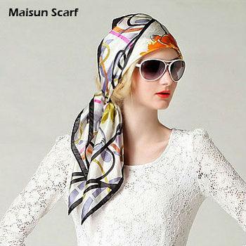 Floral 10mm 85 x 85cm silk crepe satin plain square large scarf women
