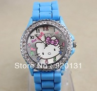 10pcs/lot Hello Kitty Single diamond Quartz Watch hello kitty Pattern Face Silicone candy strap color for ladies girls GH03