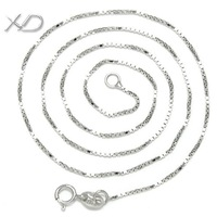 XD Y903 925 sterling silver box chain necklace with 18k white gold plated silver link chain