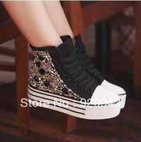High-top shoes platform canvas  casual rhinestone elevator platform  casual