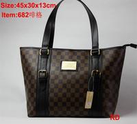 Free shipping checker buckle bag handbag women fashion purse RD682 white brown