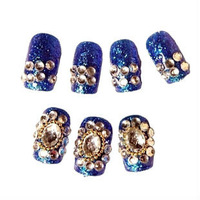 Creative nail super fake nails have aura foil the bride the hand skin white sapphire gems decorative nail patch M8055