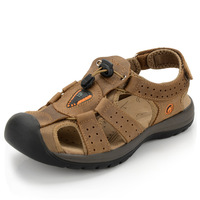 2014 Summer Genuine Leather Male Outdoor Walking Sandals Shoes Breathable Casual Sandals Shoes