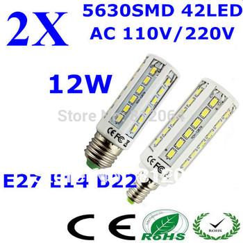 Free shipping 2pcs/lot E27 E14 B22 AC110/220V 5630 SMD 42led 12W  DIMMABLE Led corn light bulb lamp 360 degree
