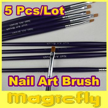 [NRB-008]5XProfessional Nail Art Brush Set for UV Gel Builder Nal Brushes Dropshipping +Free Shipping