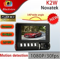K2W Car DVR 170degrees wide Angle 2.7inch LCD Full HD1280*1080P G-Sensor HK Free Shipping (Russian)