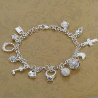 H144 Wholesale! 925 silver bracelet 925 silver fashion jewelry charm bracelet 13 Pendants Bracelet