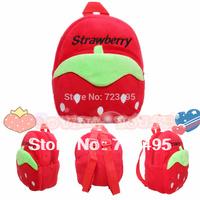 2014 3D Strawberry the children's bags / plush small backpacks for girls and boys (kids) / the knapsacks are children's gift