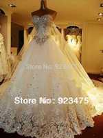 Luxury tail wedding  Newest Luxury Bride dress Sweetheart Swarovski crystals Applique Bead cathedral wedding dressesManual