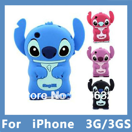 Drop Resistance 3D Stitch Movable Ear Flip Hard Back Cover Skin For Apple iPhone 3 3G 3GS Dropshipping Free shippiing(China (Mainland))