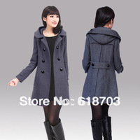 Woolen outerwear/ women's woolen overcoat cloak plus size slim trench female
