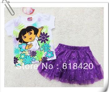 2013 Newest DORA Summer Cute Baby Girl Lace TuTu Skirt Sets Children Cartoon White Shirt + Mini Skirt Kids Clothing Outfits