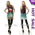2013 Fashions Galaxy Tops Colorful Galaxy Printed long T-shirts Digital Print cotton Vest top lady's dress tank-5390