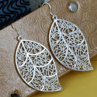 E128 Wholesale 925 silver earrings, 925 silver fashion jewelry earring Leaf Earrings