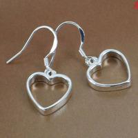 E047 Wholesale 925 silver earrings, 925 silver fashion jewelry earring Flat Hollow Heart Earrings
