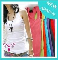 Wholesale Women's Cotton T-Shirts long Tops Free shipping Pure Color 9 Pcs/lot TS-013 1204H