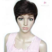 Women's fashion 100% H  Hair  wig short mono hand made roll fluffy oblique bangs  wig