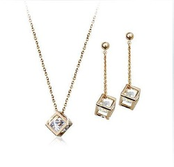 Love is treasure Rose Gold silver crystal plated square locket Necklace+Earrings,wedding Jewelry Set !,FREE SHIPPING!sj011(China (Mainland))
