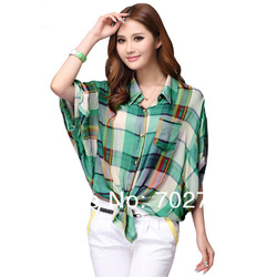 2013 Plus Size Summer Fashion Loose Batwing Sleeve Plaid Shirt Women Free Shipping(China (Mainland))