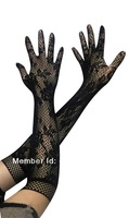 Fashion  Etiquette Gloves Sexy Beauty Long-sleeved Gloves Jacquard Fishnet