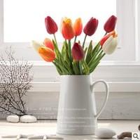 Multicolor fashionable joker high simulation flowers desktop pu handle texture decorative flower art Single tulip trumpet