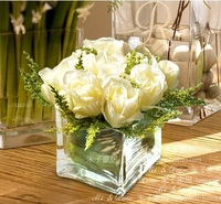Home artificial flower artificial flower living room dining table decoration flower rose glass floral overall