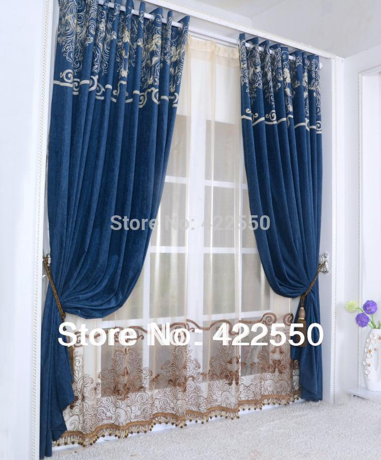 com buy continental chenille navy blue curtain fabric living room
