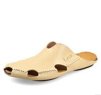 2014 New Arrival Male Slippers Summer Beach Sandals Men Zapatillas Toe Cap Covering  Flip Flops Man Genuine Leather Sandal