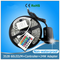Light 5M/roll Indoor Led Lights SMD 3528 non waterproof 300 LED Strip Lighting RGB with 24key IR Remote 2A Power Adapter