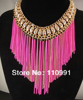 2013 New Arrival Unique Design Fashion Choker Chunky Rhinestone Neon Fuxia Yellow Long Tassel Bib Statement Necklace For Women