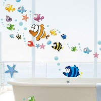 Kid's Room Bubble Fish Vinyl Art Wall Decals,Bathroom Removable Waterproof Wall Stickers Free Shipping