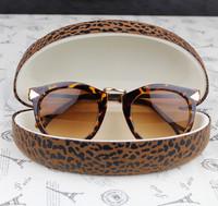 Cool leopard print oversized sunglasses advanced portable box sunglasses case