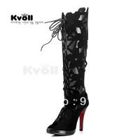 Kvoll velvet black cutout sweet gentlewomen carved bandage open toe high-heeled long-barreled cool boots