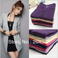 New Fashion Women's Cardigan Sweater Long sleeve Casual Slim Cotton Solid Knitwear Hoodie Coat Suit 15 colors Drop shipping