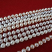 free shipping  7-8MM100% real pearl string nearly round good luster freshwater pearl Wholesale Promotion