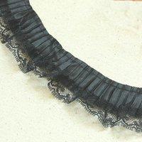 Pretty  black  Ribbon with Lace Ruffle ,    doll , sewing DIY    4cm