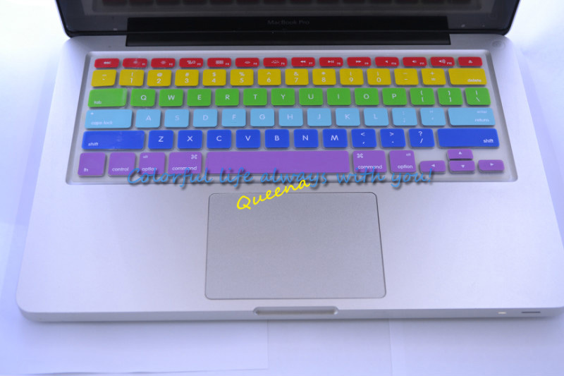 30pcs/lot via DHL EMS Free Shipping Ultra-thin Rainbow Silicone Keyboard Cover Skin for MacBook Pro 13 15 17 USA Standard(China (Mainland))
