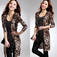 Free 2013 New Hot  Cardigan,Milk Silk Casual Fashion Sexy Women coat,Leopard Big SIZE Trench Long sleeve Korea Hot   TOP