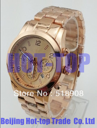 Free shipping & NEW STYLE lady rose gold Quartz Watch round stainless steel fashion wristwatch with calendar for men and women(China (Mainland))