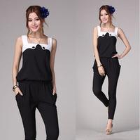 2014 Summer Clothes Fashion White Black Patchwork Casual Sleeveless Jumpsuit Women Trousers Pants Ropers Capris S/M/L/XL