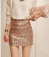 Free shipping 2014 new summer fashion Korean sexy gorgeous night club gold sequin skirt metal high waist paillette skirt women