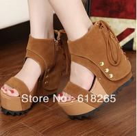 Ms han edition new retro wedge sandals waterproof platform heels