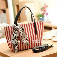 Free Shipping 2013 Newest Striped Ladies Shopping Bag Fashion Canvas Handbags Large Volume Women's Travel Totes Messenger Bags